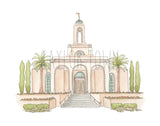 Newport Beach, California LDS Watercolor Temple