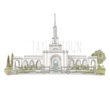 Sacramento, California LDS Temple Watercolor Painting