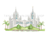 San Diego, California LDS Watercolor Temple