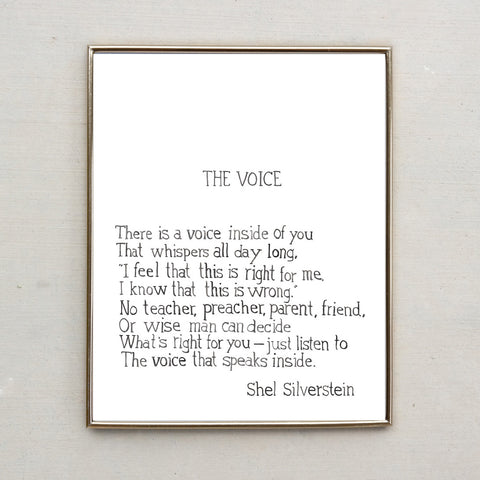 Shel Silverstein Poem, The Voice (Hand Lettered Water Color Print)