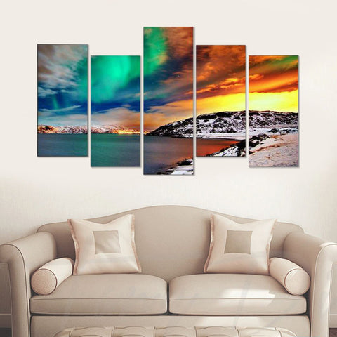 Aurora at Dusk 5 Piece Canvas