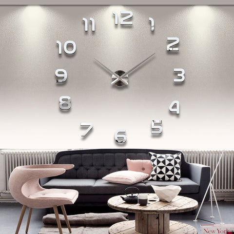 3D Wall Clock Large Numbers Acrylic Mirror Quartz Design