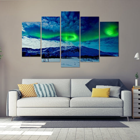 Green Aurora 5 Piece Canvas
