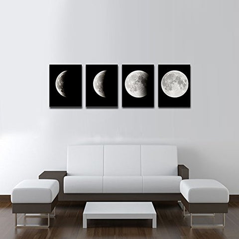 Buy Lunar Eclipse Black and White Moon Canvas Wall Art 4 Piece/Set ...