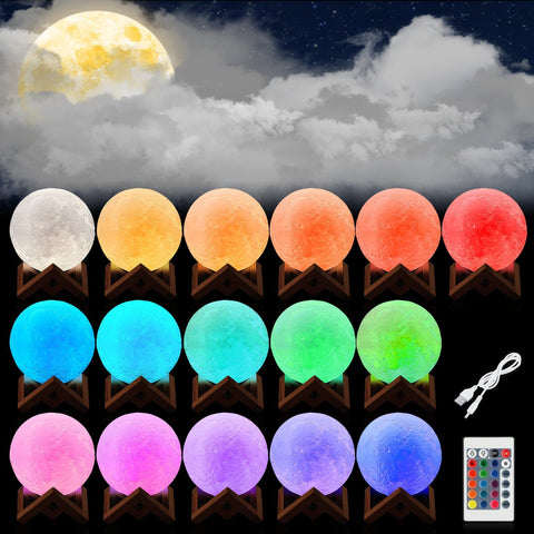 3D Printed LED Color Changing Moon Lamp and Night Light Rechargeable 16 Colors Bedroom Decor