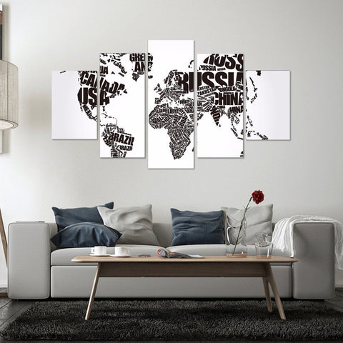 Country Names Black Map 5 Piece Canvas