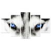 Deep Blue Wolf Eyes 5 Piece Canvas