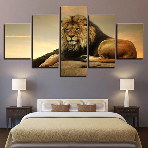 King of Savannah 5 Piece Canvas