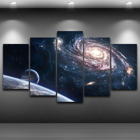 Outer Space Milky Way 5 Piece Canvas