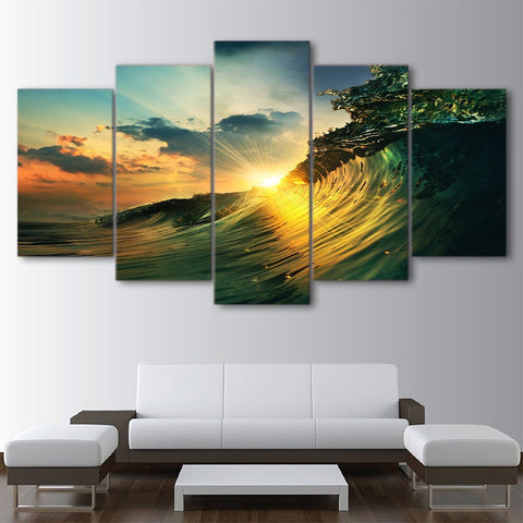 Swelling Wave 5 Piece Canvas