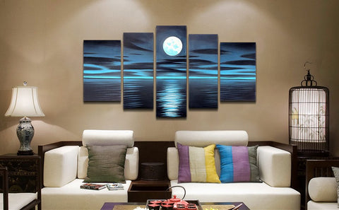 Moonlight Over the Water 5 Piece Canvas Blue
