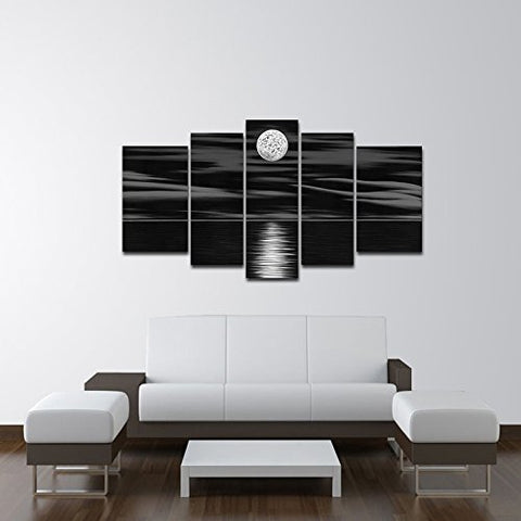 Moonlight Over the Water 5 Piece Canvas Black