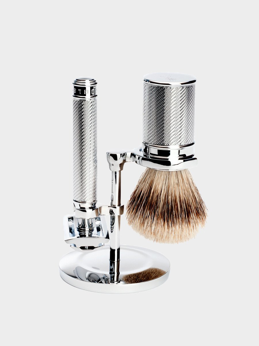 MÜHLE / Classic Safety Silvertip Fibre Shaving Brush | Chrome - stvalentin.dk - 2