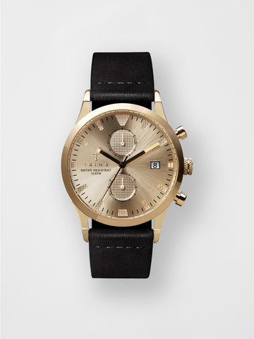 TRIWA / Sort Of Black | Gold Chrono - stvalentin.dk - 1