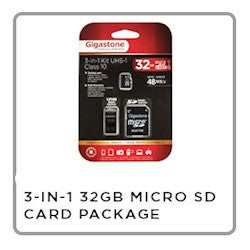 WASPCAM 32 GB CLASS 10 3 IN 1 MICRO SD CARD
