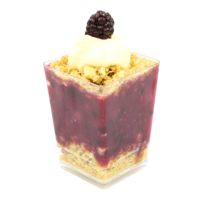 Dessert Cup - Blackberry, Pear & White Chocolate Crumble - Treats2eat - Wedding & Birthday Party Dessert Catering Near Me