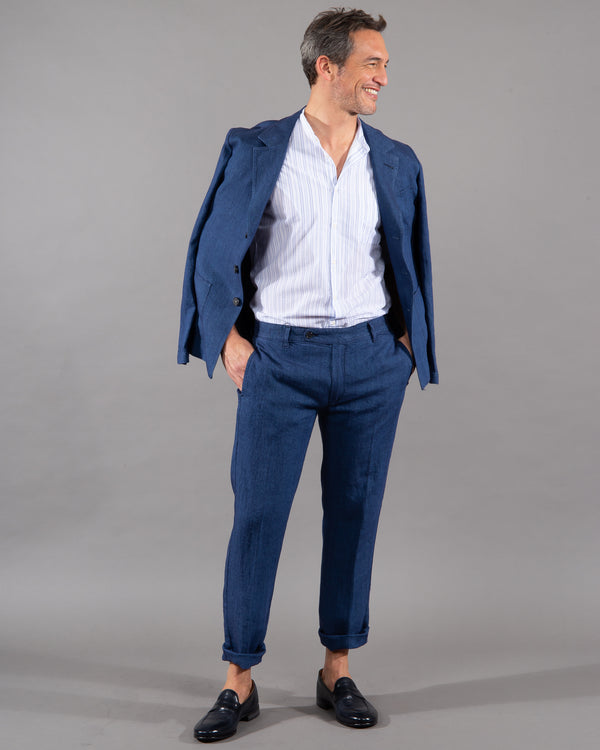 Massimo Alba trouser 100% linen leinen blue blau male model