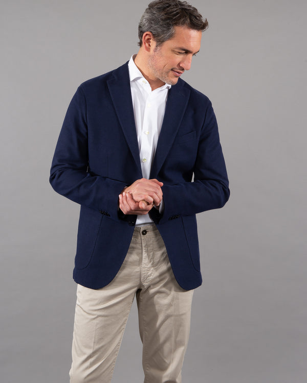 Boglioli men male Sakko Blazer 100% cotton navy dark blue