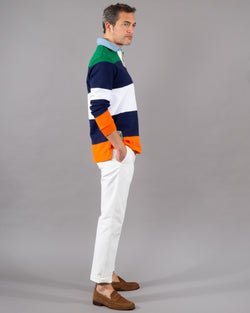 Polo Ralph Lauren, Rugby Polo Shirt 100% cotton multicolored green navy white orange
