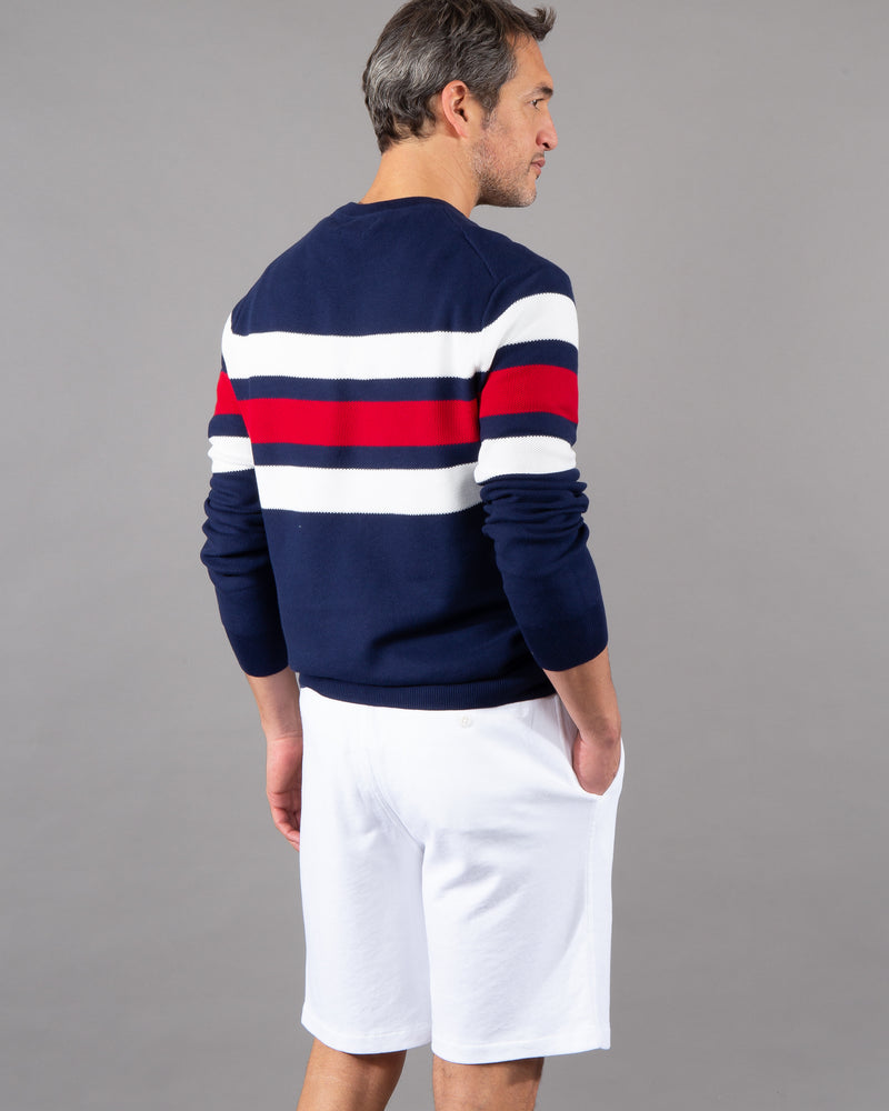 Polo Ralph Lauren, Pullover round neck 100% cotton white blue red