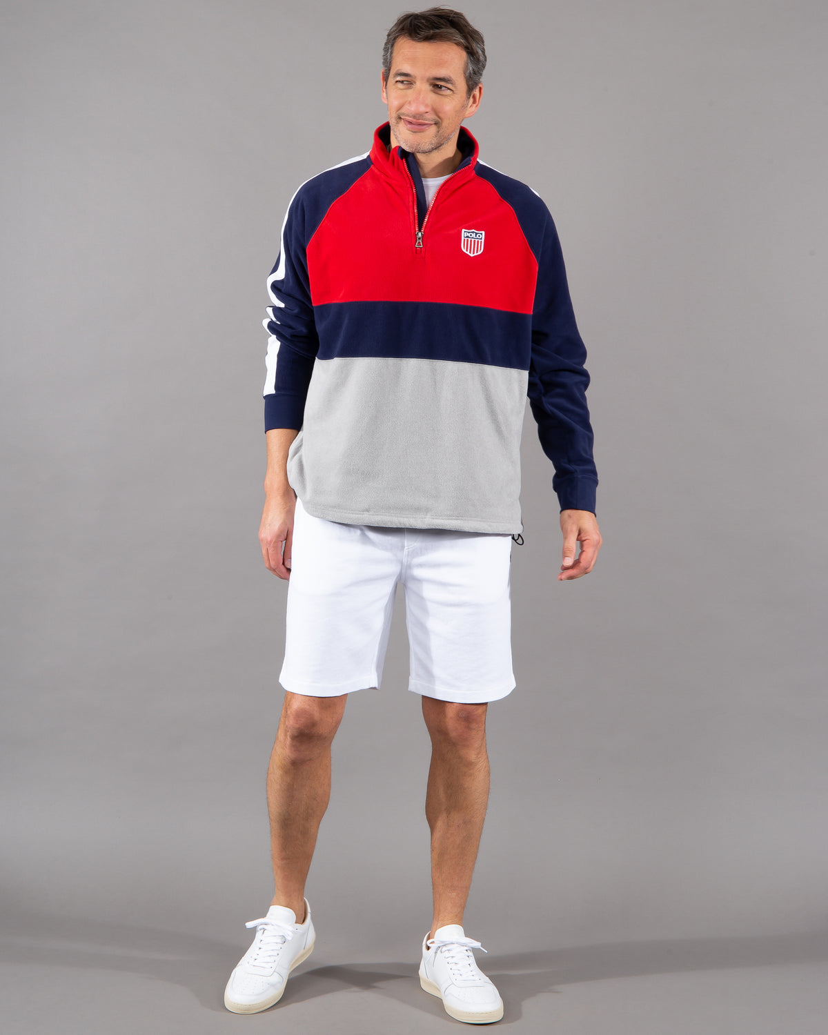 Polo Ralph Lauren, FleecePullover zipper 100% polyester navy blue white red with Polo Letters and Flag on back
