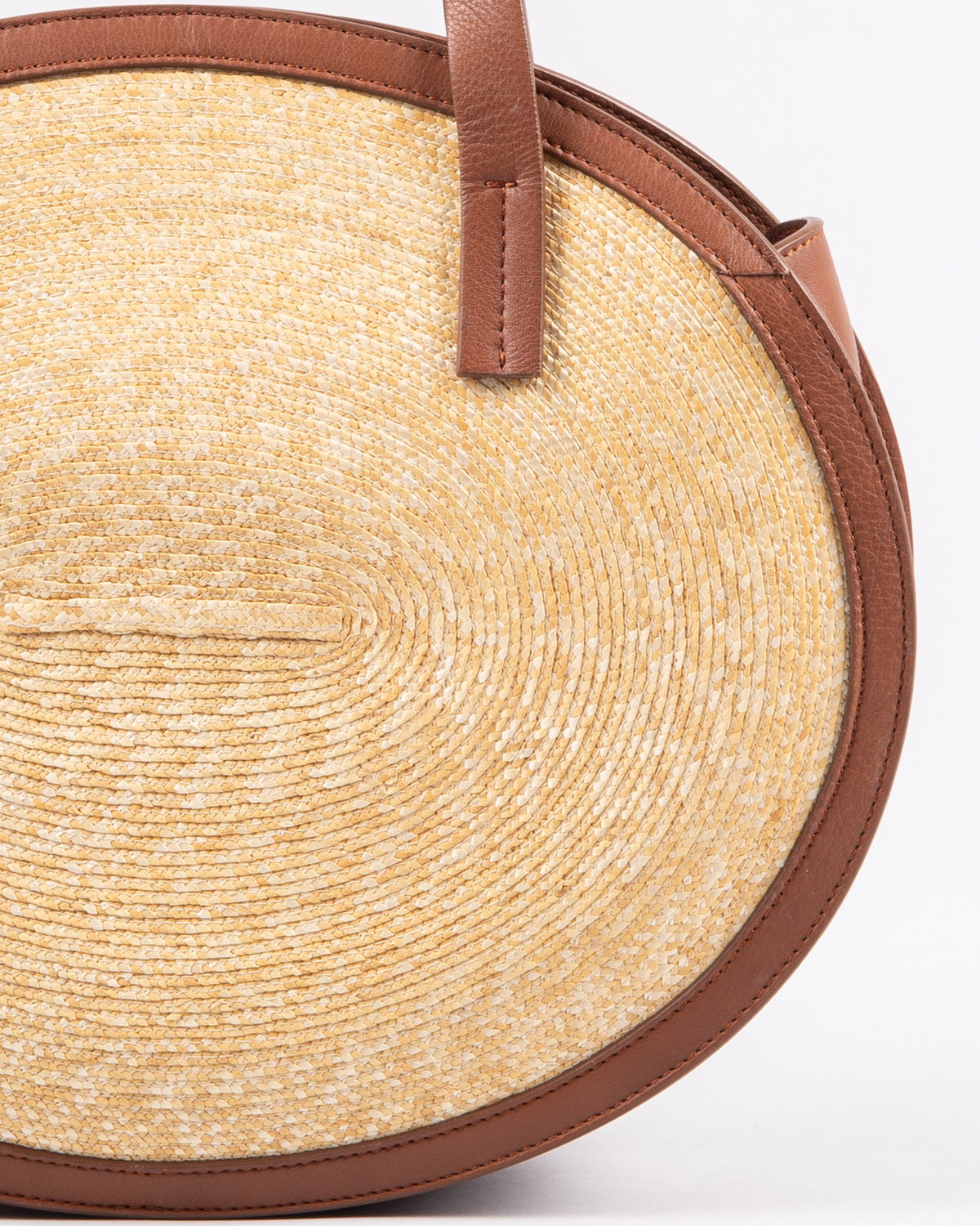 Montegallo Rosa Straw Bag Medium with leather handle