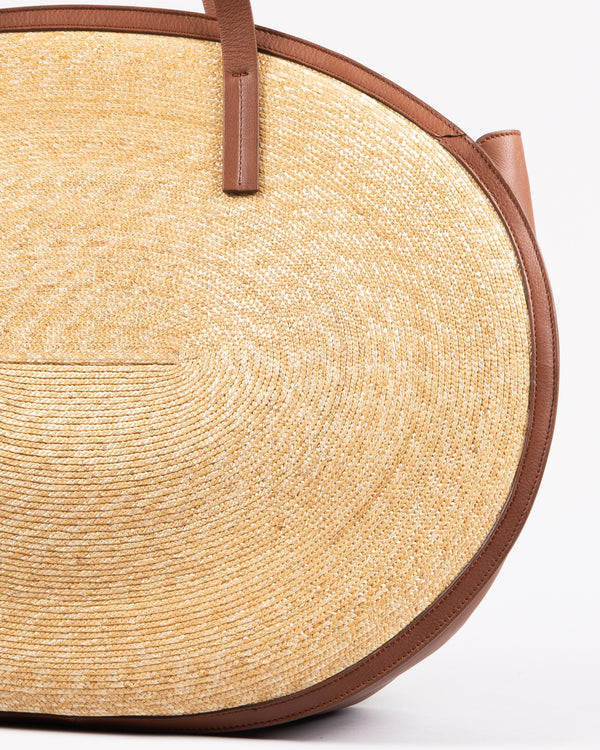 Montegallo Rosa Straw Bag Big with leather handle