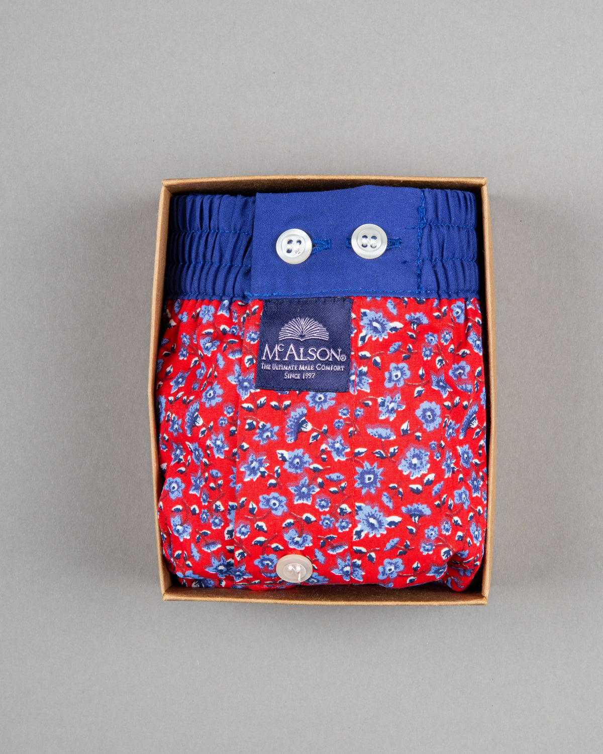 Mc Alson Boxershort 100% cotton red blue flower print
