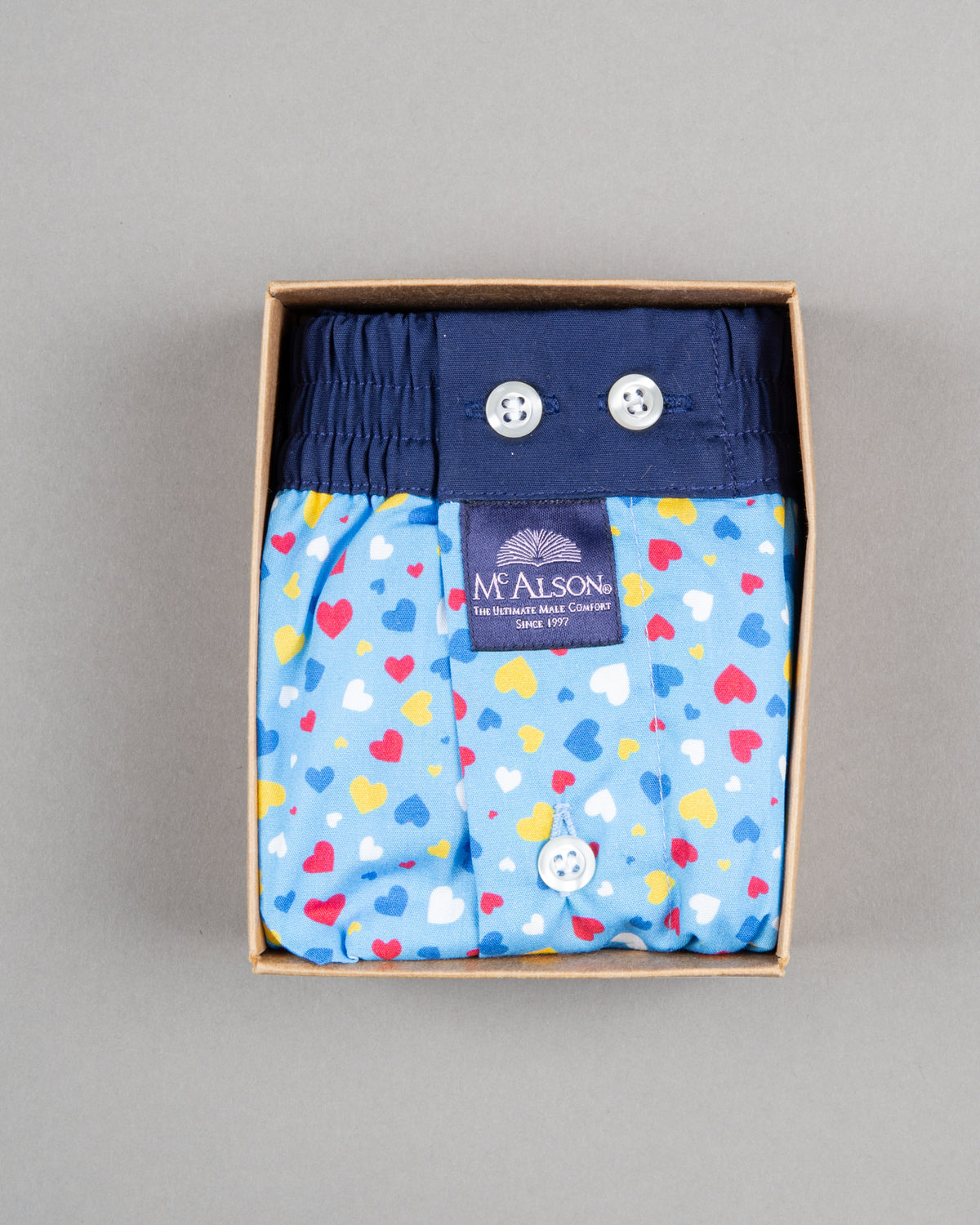 Mc Alson Boxershort 100% cotton blue hearts
