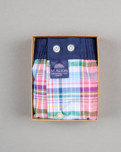 Mc Alson Boxershort 100% cotton red blue green striped