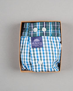 Mc Alson boxer shorts 100% cotton white blue green striped
