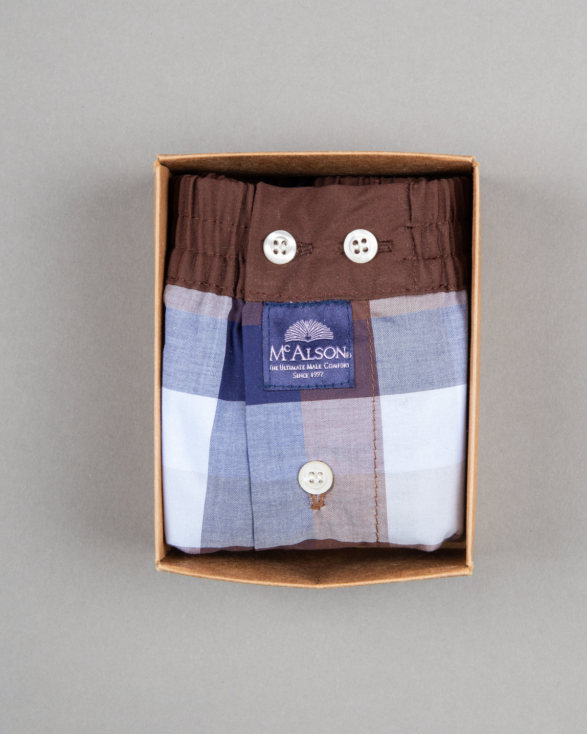 Mc Alson boxer shorts 100% cotton brown blue