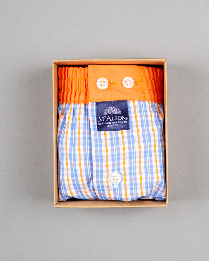 Mc Alson Boxershort 100% cotton orange blue white