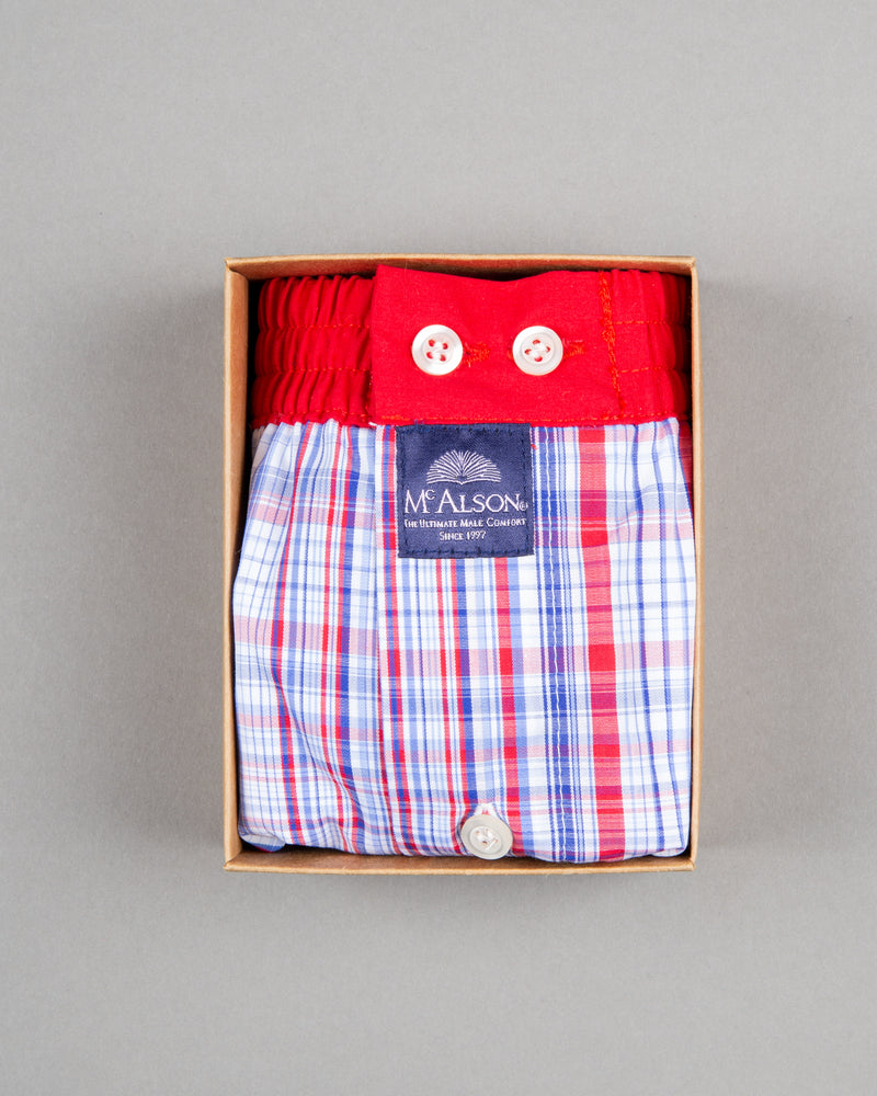 Mc Alson Boxershort 100% cotton red blue