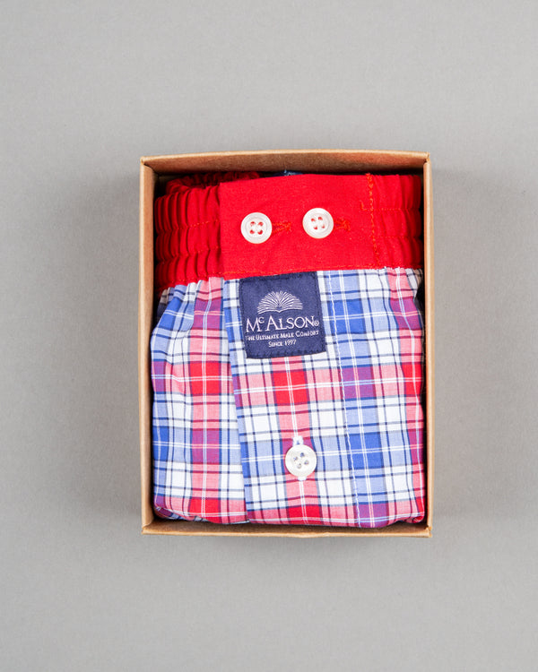 Mc Alson boxer shorts 100% cotton red white blue striped