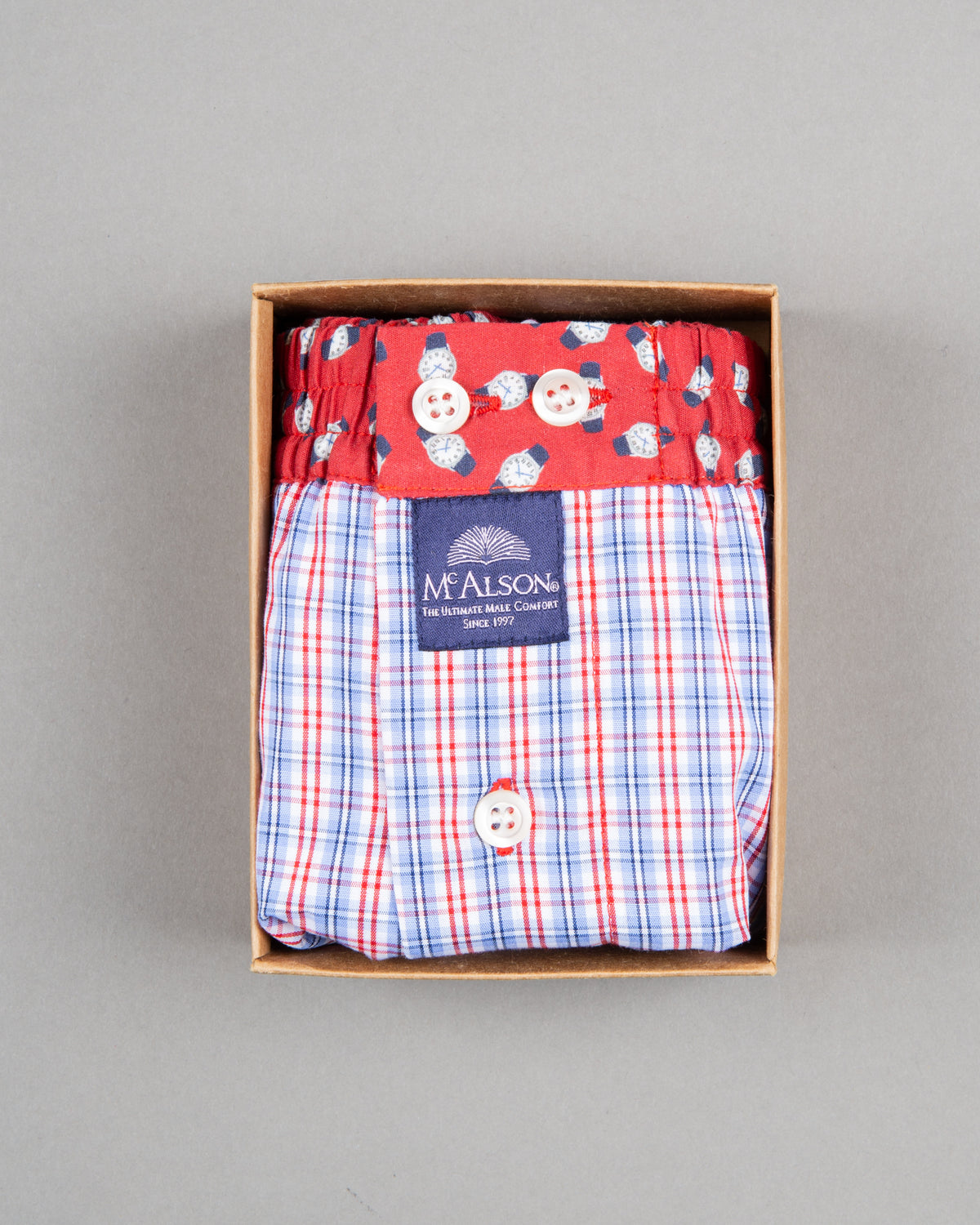 Mc Alson Boxershort 100% cotton blue red watches