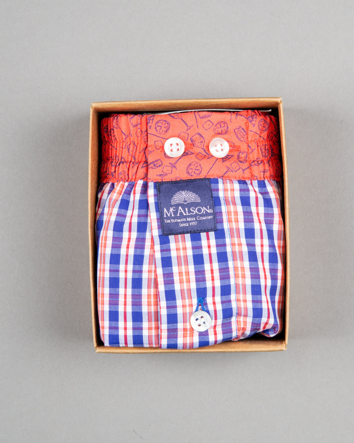 Mc Alson boxer shorts 100% cotton orange blue striped