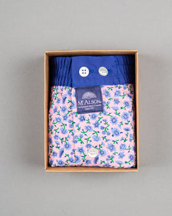 Mc Alson boxer shorts 100% cotton blue pink flower print
