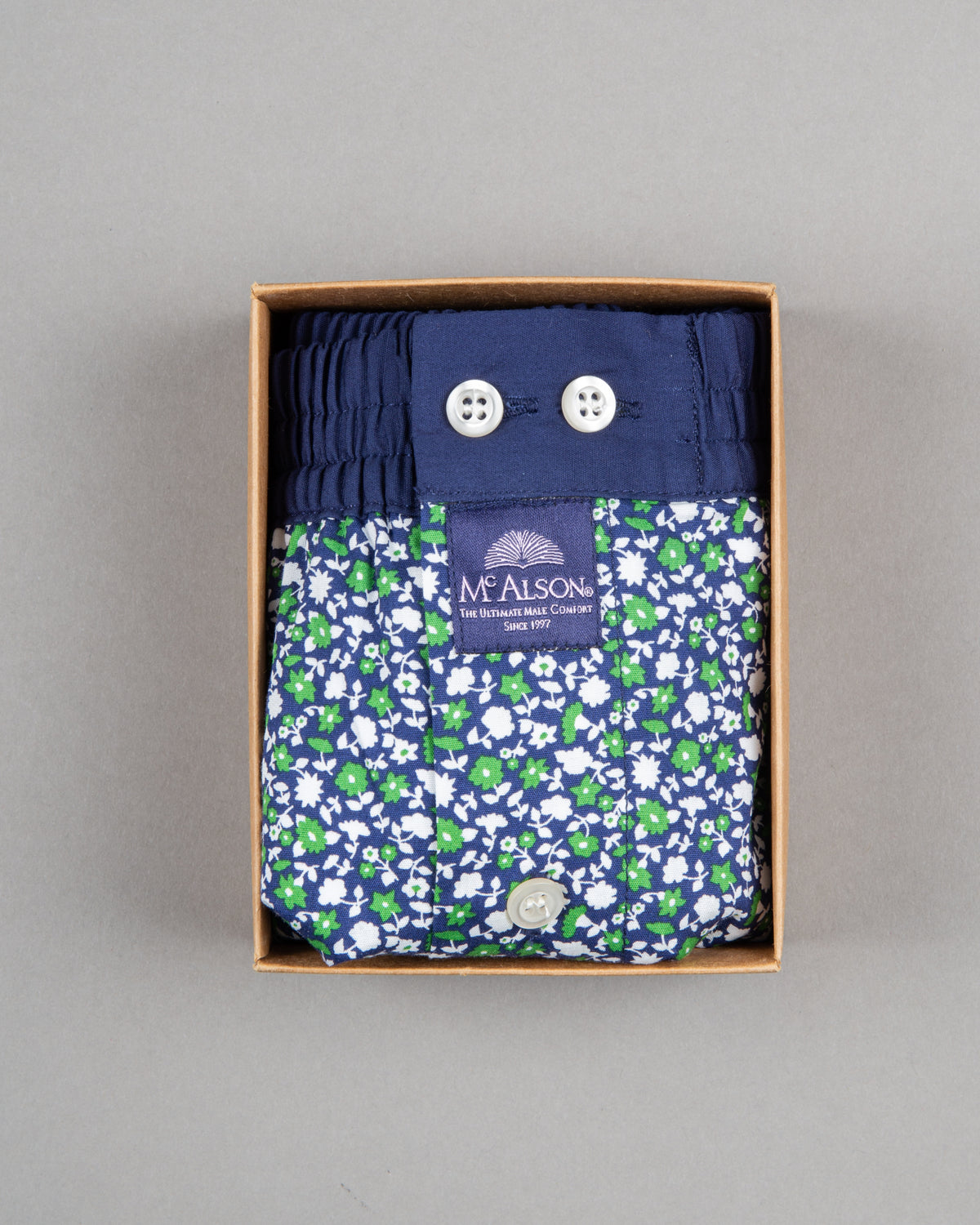 Mc Alson Boxershort 100% cotton green flowers
