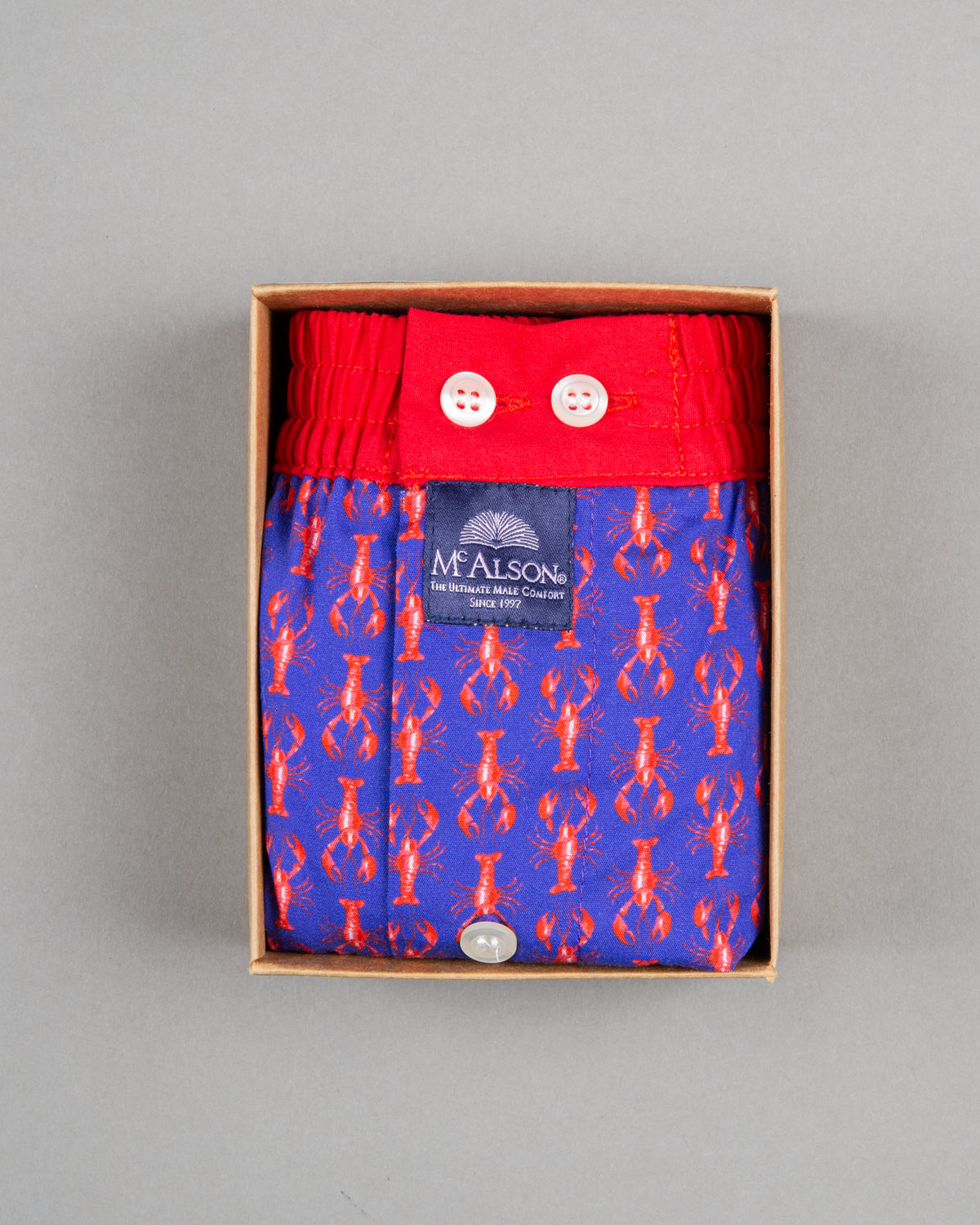 Mc Alson Boxershort 100% cotton red purple lobster print