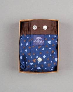 Mc Alson boxer shorts 100% cotton blue brown with playing card suit print