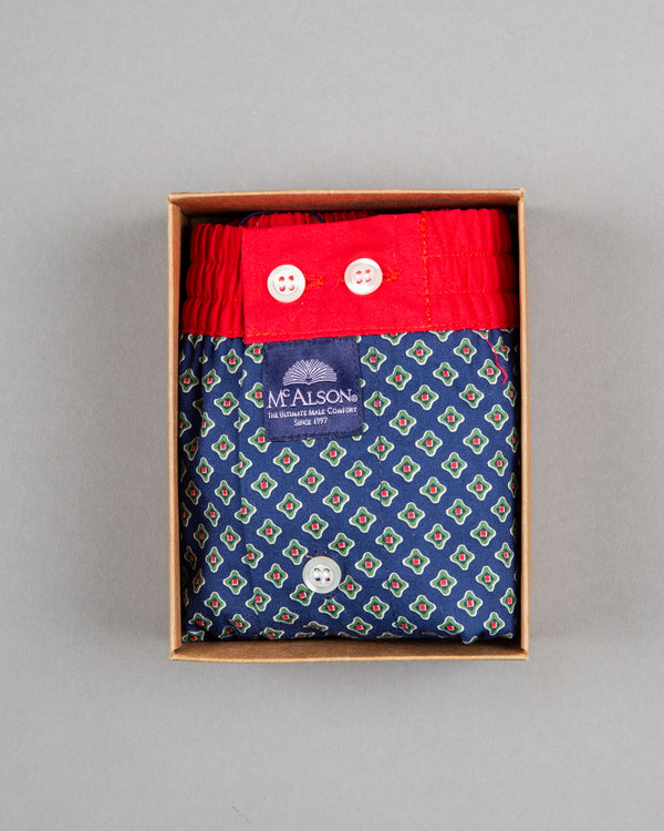 Mc Alson boxer shorts 100% cotton blue red with diamond print