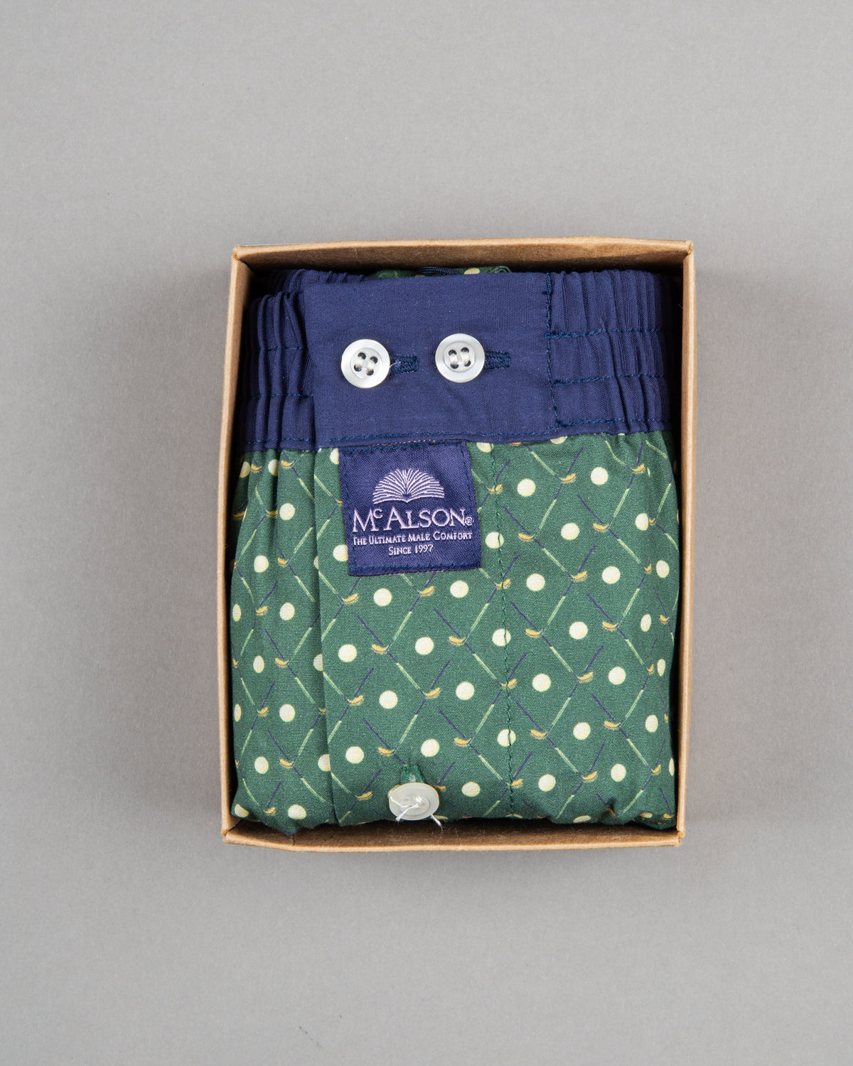 Mc Alson boxer shorts 100% cotton blue green pattern