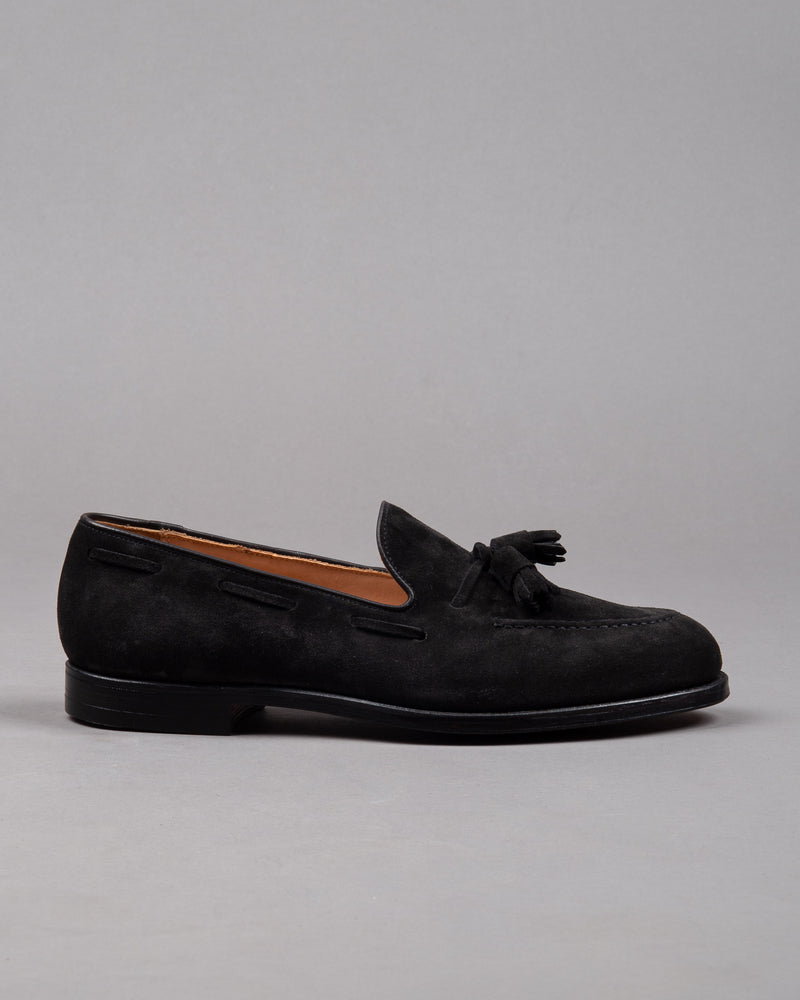 Crockett and Jones Herren Wildleder Tassel Loafer Schuh in schwarz mit Ledersohle
