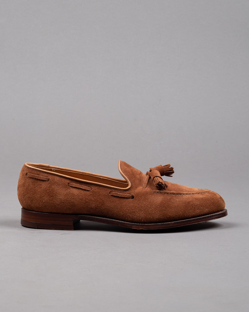 Crockett and Jones Herren Wildleder Tassel Loafer Schuh in braun mit Ledersohle