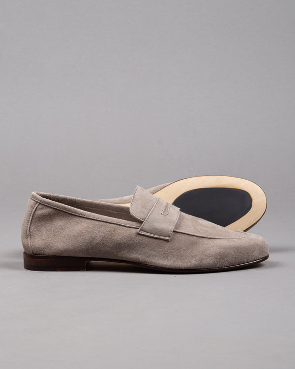 Dantendorfer suede leather penny loafer in grey and rubber sole