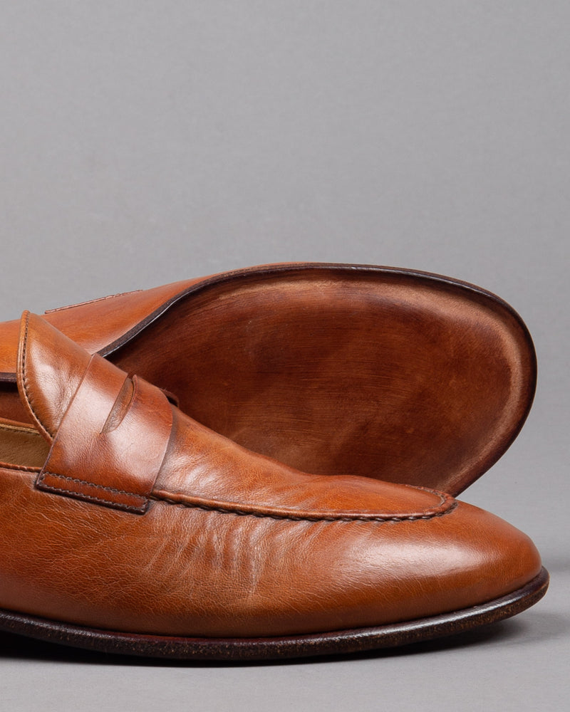Alberto Fasciani Vulcano penny loafer shoe in brown cognac leather with leather sole for men