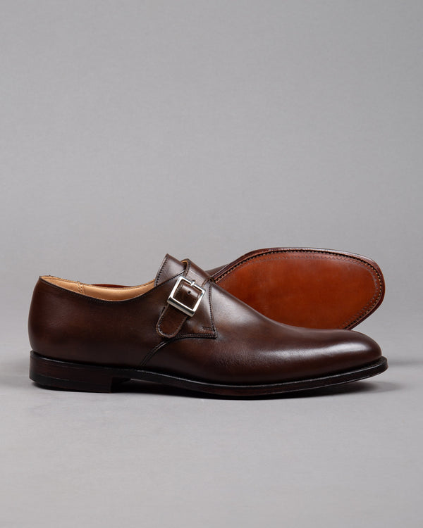 Crockett and Jones Herren Lederschuh Monkstrap in braun mit silberner Schnalle und Ledersohle
