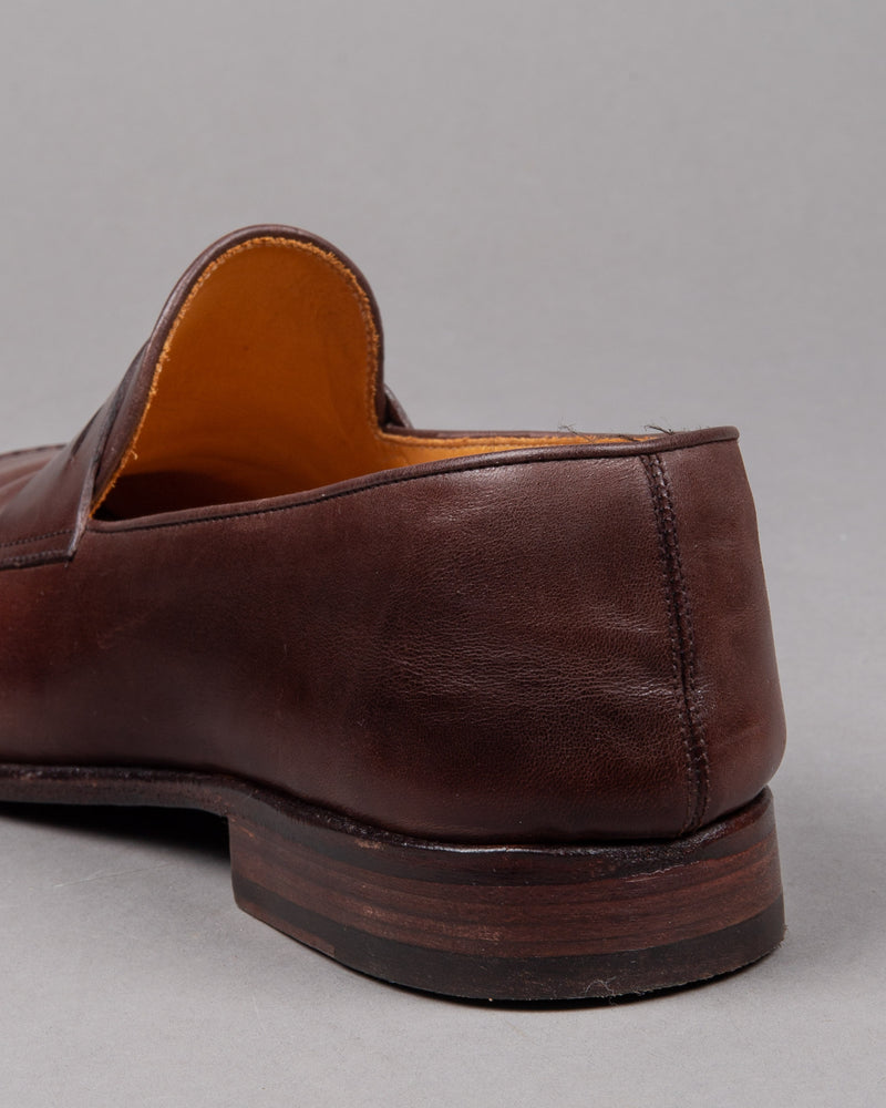 Alberto Fasciani Vulcano penny loafer shoe in brown leather with leather sole for men