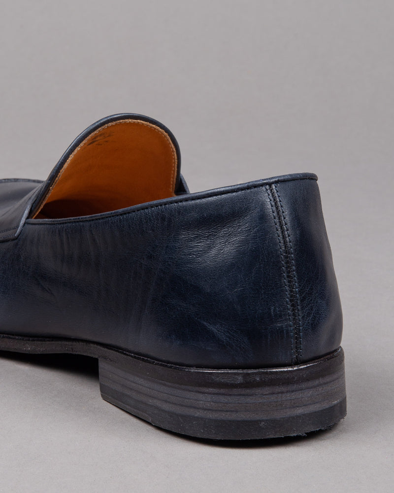 Alberto Fasciani Vulcano penny loafer shoe in blue leather with leather sole for men